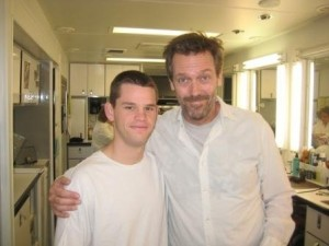 Ryan Lane & Hugh Laurie on set of House MD